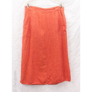 Flax Orange Linen Lagenlook Long Skirt W/ Pockets